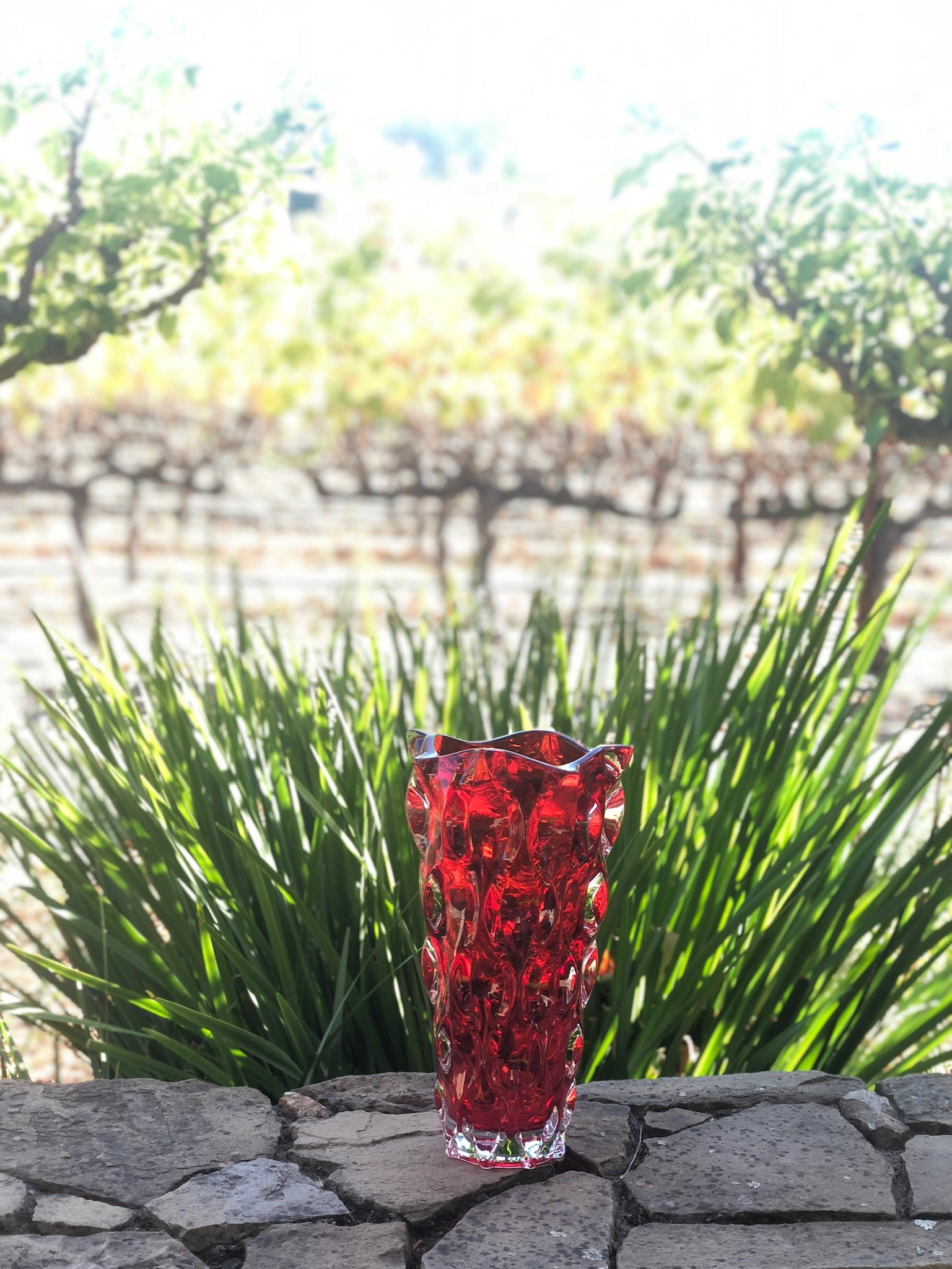 Red crystal vase