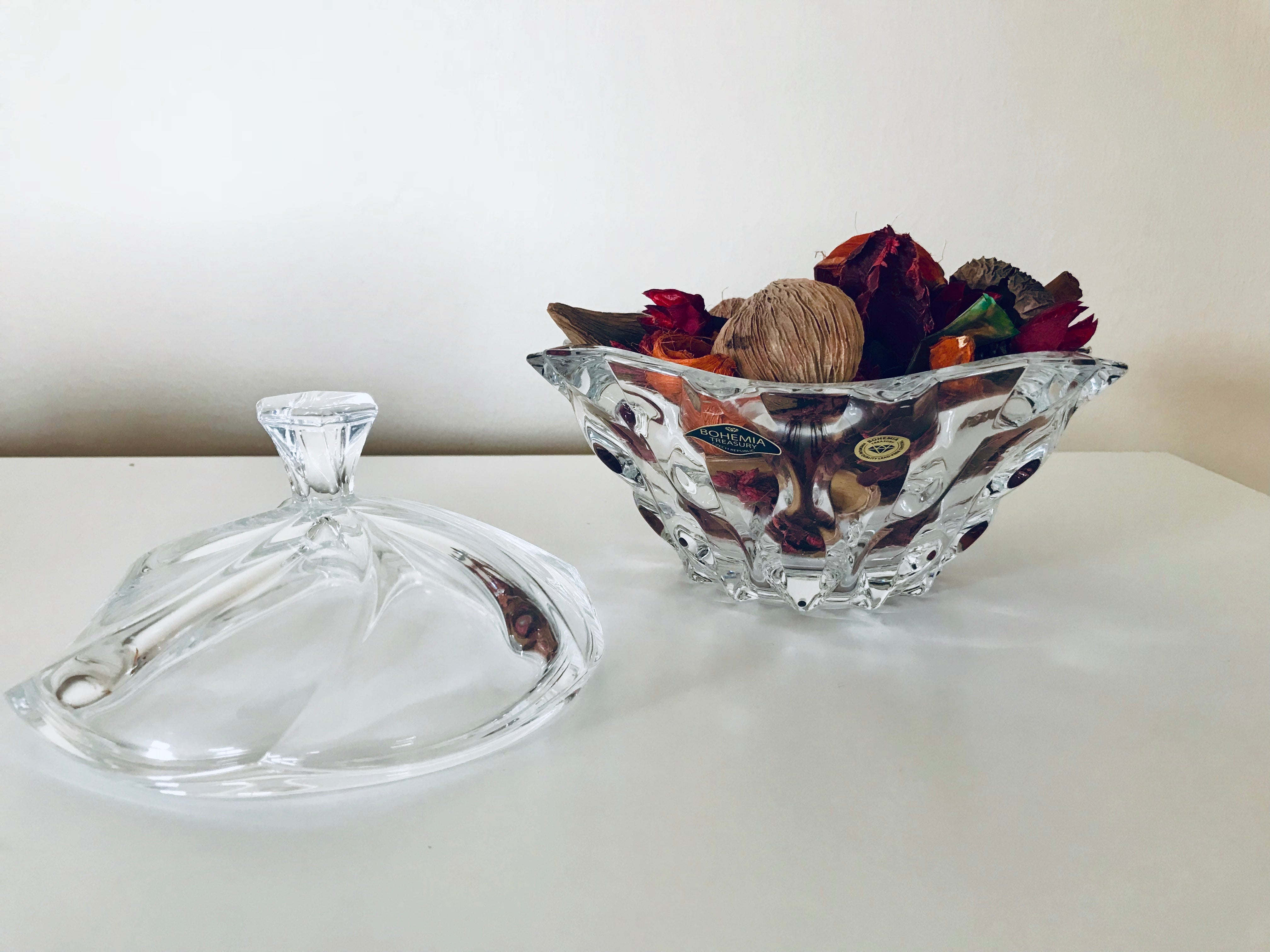 Decorative Bohemian Crystal Glass and Porcelain