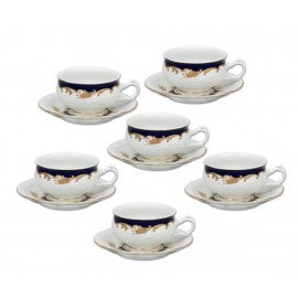 Set of 6 tea/coffee cups with saucers