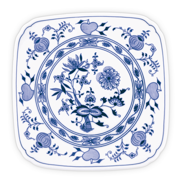 """Blue Onion"" Traditional Czech Porcelain Decor Plate, Size 8.3"" Square"