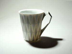 White Retro Style Porcelain Cup 'DIAMOND' l 12oz l