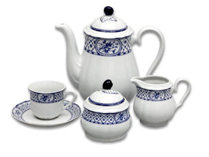 Rose Coffee Set - Blue