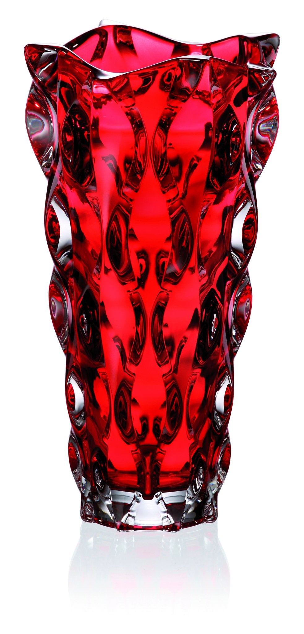 Red crystal glass vase & bowl set
