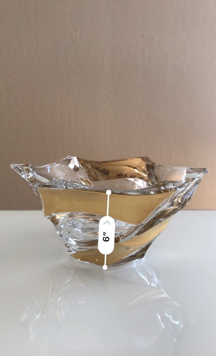 Crystal glass gold bowl