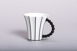 Retro Style Porcelain Cup with Stripes l 12oz