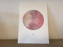 Load image into Gallery viewer, ARIES Zodiac Constellation Art Print with Hand-Painted Gold Stars