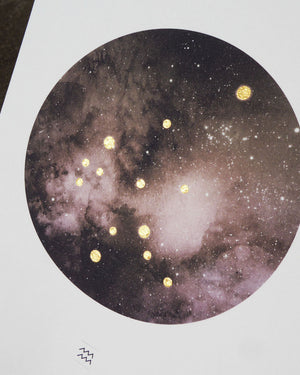 AQUARIUS Constellation Art Print with Hand-Painted Gold Stars