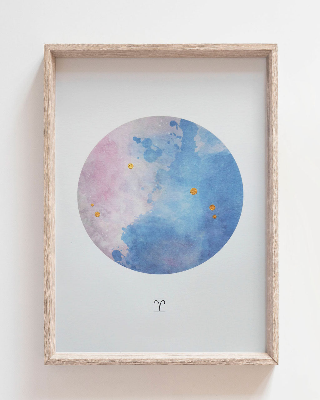 ARIES Zodiac Constellation Art Print with Hand-Painted Gold Stars