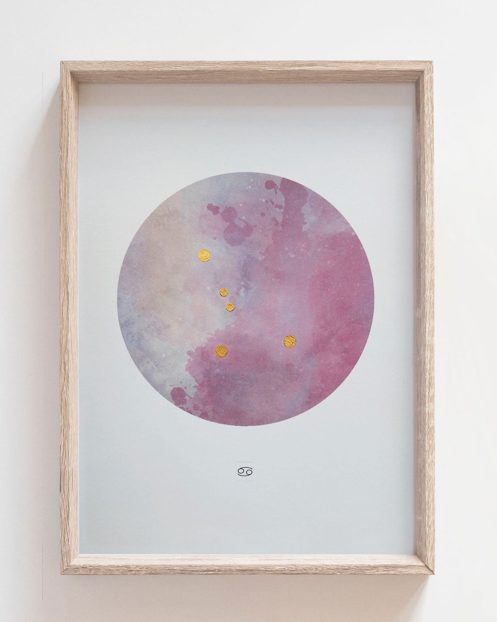 CANCER Zodiac Constellation Art Print with Hand-Painted Gold Stars