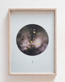 CAPRICORN Zodiac Constellation Art Print with Hand-Painted Gold Stars