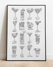 Load image into Gallery viewer, Cocktail Recipes - print of original illustration on watercolour paper