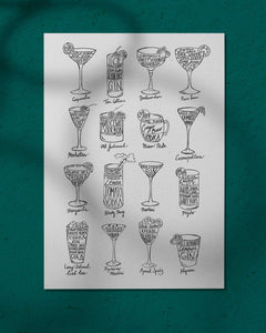 Cocktail Recipes - print of original illustration on watercolour paper