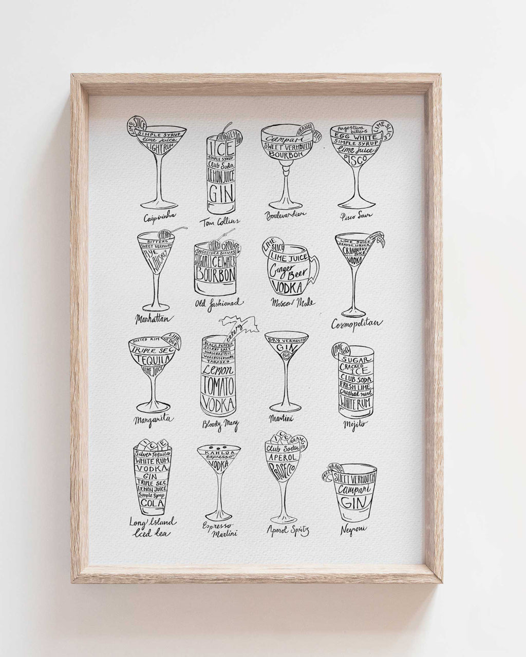 Cocktail Recipes in red - print of original illustration on watercolour paper