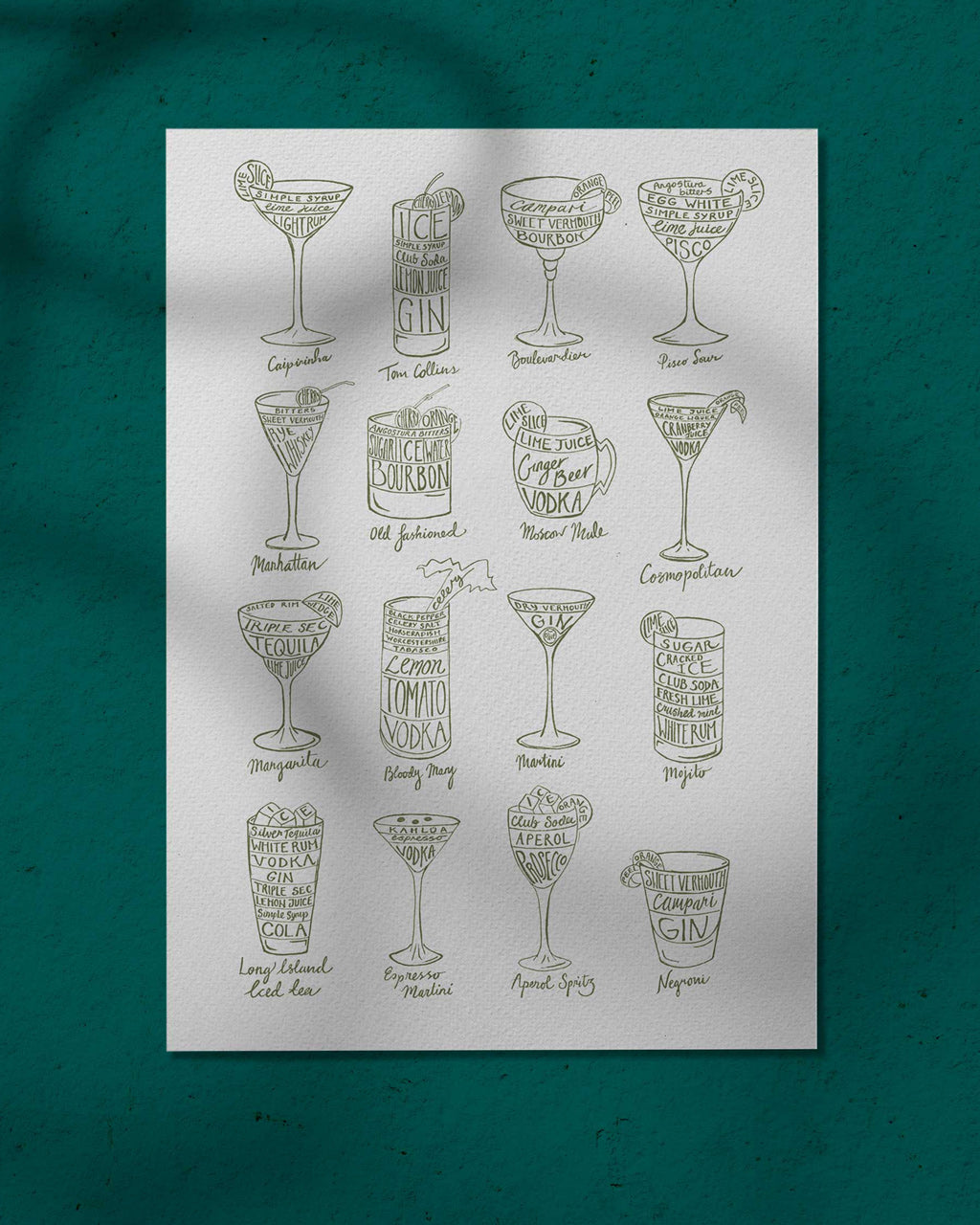 Cocktail Recipes in Green - print of original illustration on watercolour paper