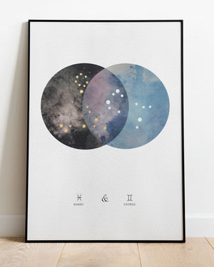 Dual Constellation Commission Artwork - Night Sky and Day Time