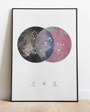 Dual Constellation Commission Artwork - Night Sky and Dusk