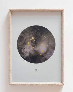 GEMINI Zodiac Constellation Art Print with Hand-Painted Gold Stars