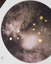 Load image into Gallery viewer, LEO Zodiac Constellation Art Print with Hand-Painted Gold Stars