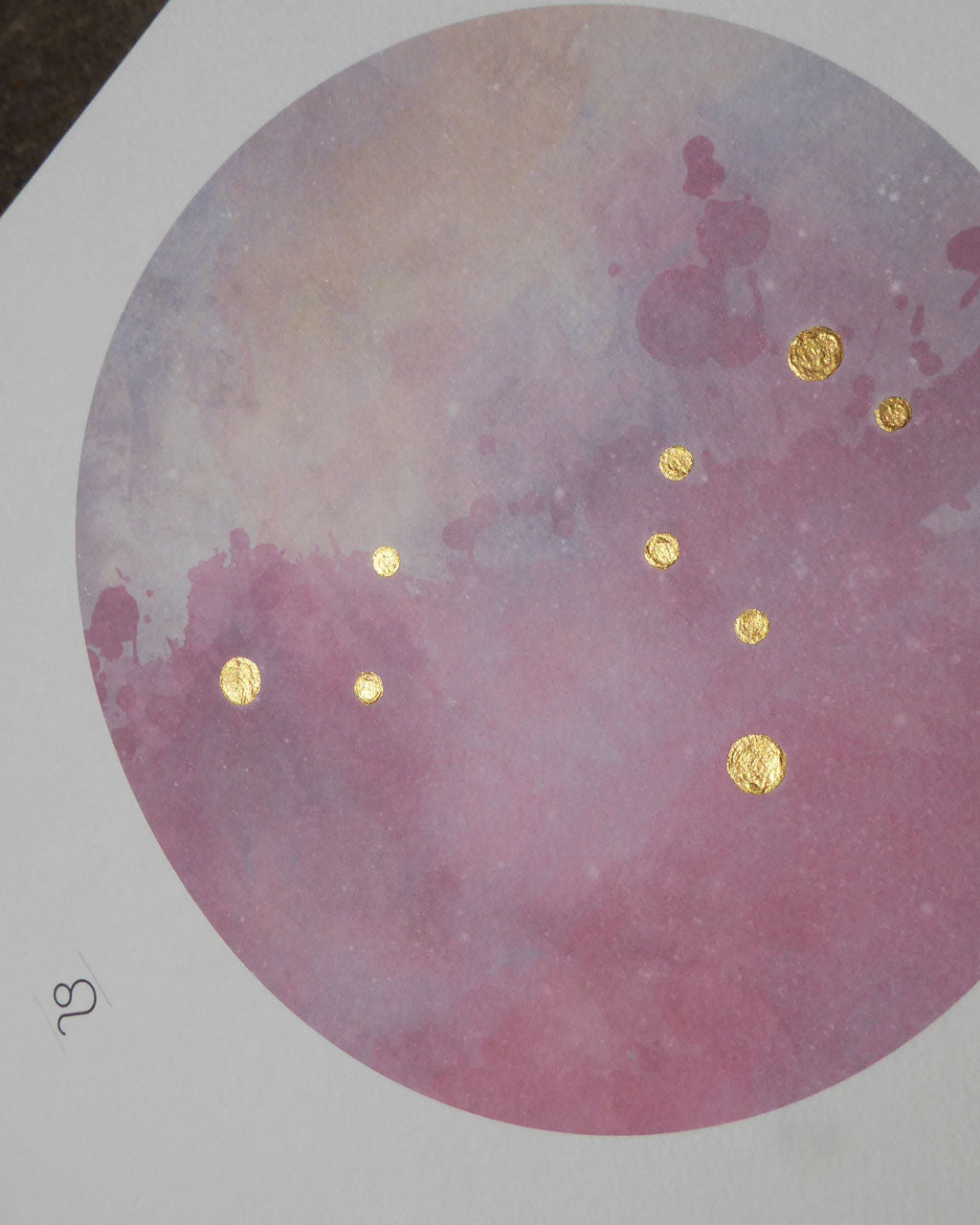 LEO Zodiac Constellation Art Print with Hand-Painted Gold Stars