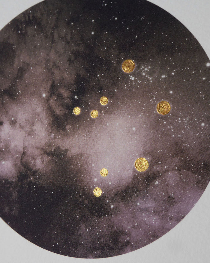 LIBRA Zodiac Constellation Art Print with Hand-Painted Gold Stars