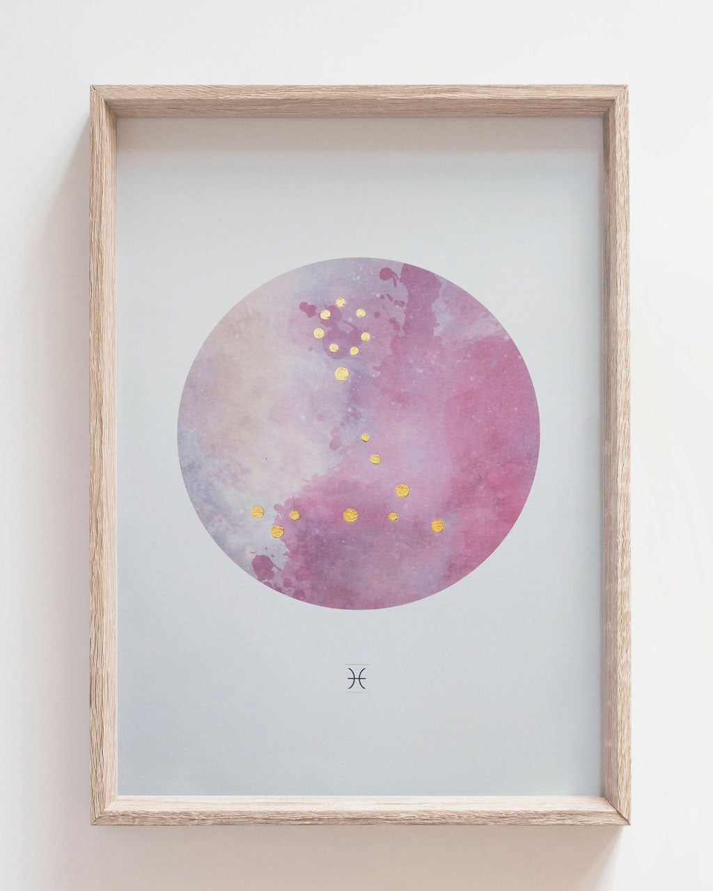 PISCES Zodiac Constellation Art Print with Hand-Painted Gold Stars