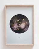SAGITTARIUS Zodiac Constellation Art Print with Hand-Painted Gold Stars