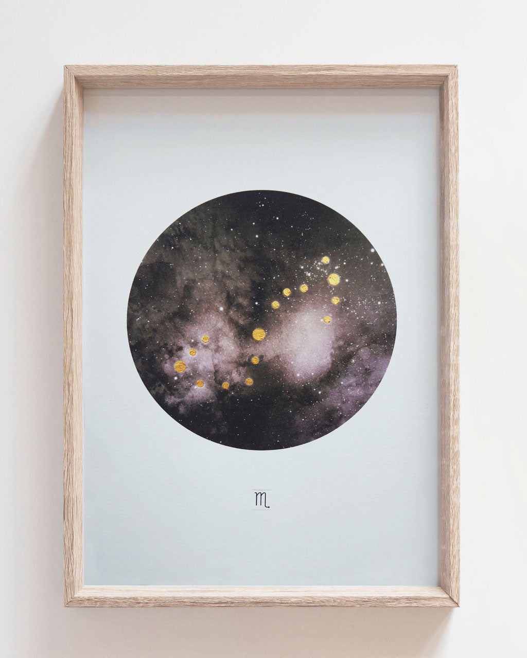 SCORPIO Zodiac Constellation Art Print with Hand-Painted Gold Stars