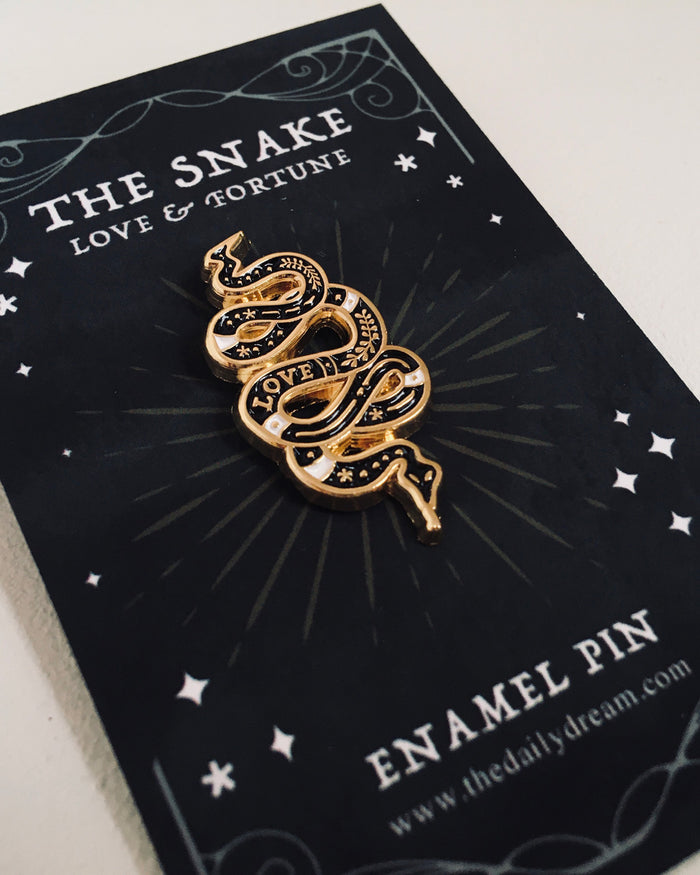 'Love Snake' Enamel Pin Badge Brooch