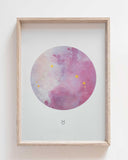 TAURUS Zodiac Constellation Art Print with Hand-Painted Gold Stars