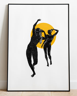 Dancing Girls - Nude Silhouette Art Print