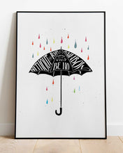 Load image into Gallery viewer, Rainbow Umbrella - print of original illustration on watercolour paper