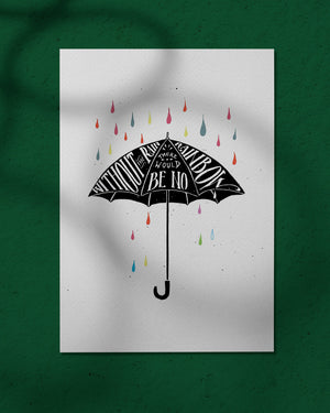 Rainbow Umbrella - print of original illustration on watercolour paper