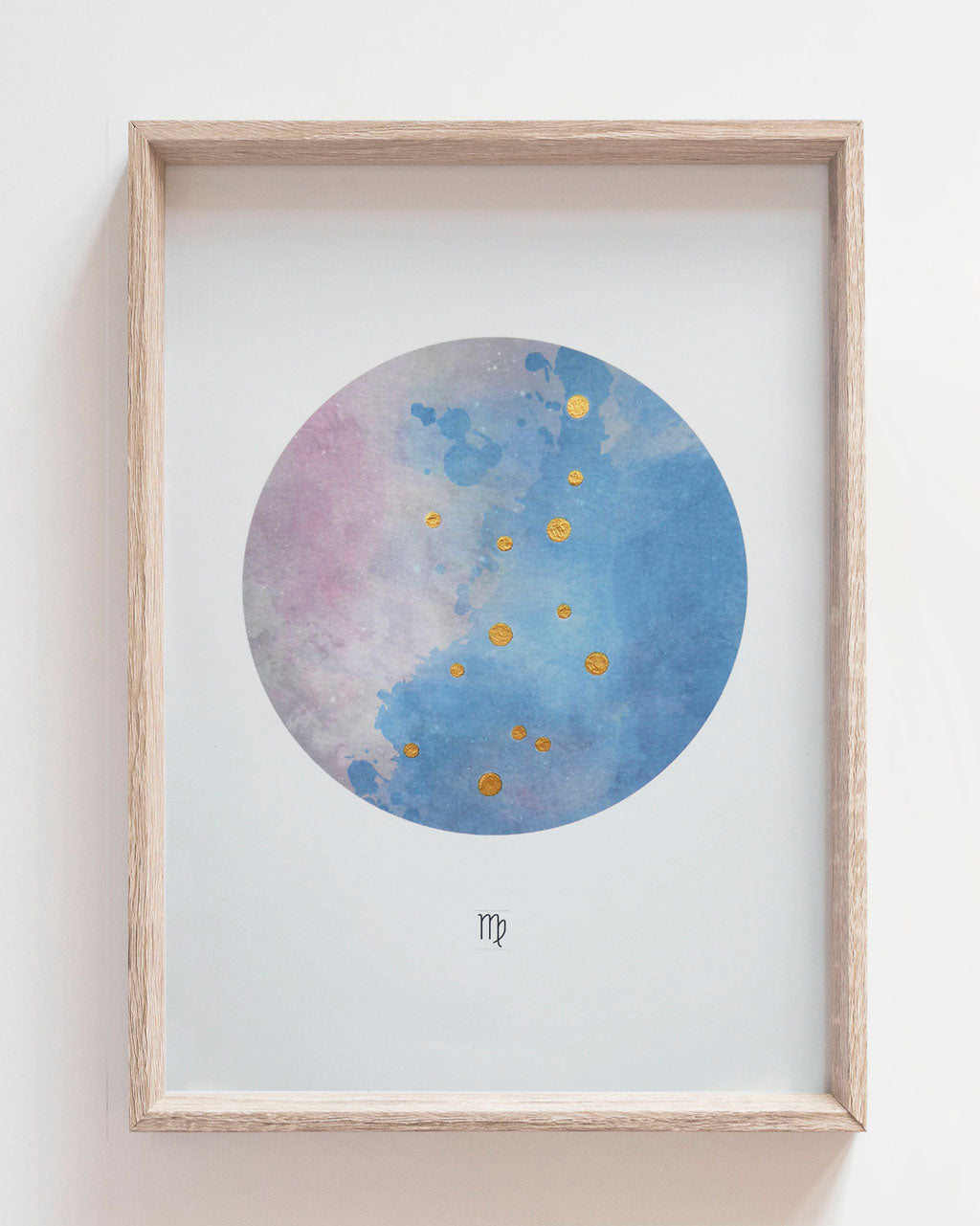 VIRGO Zodiac Constellation Art Print with Hand-Painted Gold Stars