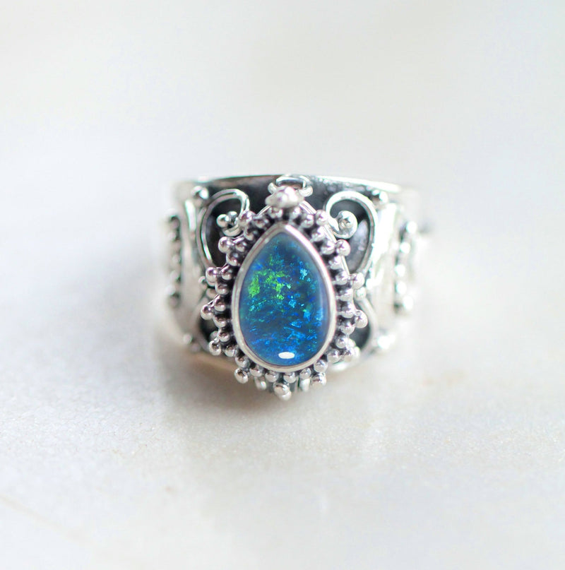 Blue Opal Locket Ring