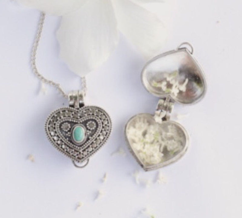 Turquoise Heart, Locket Necklace