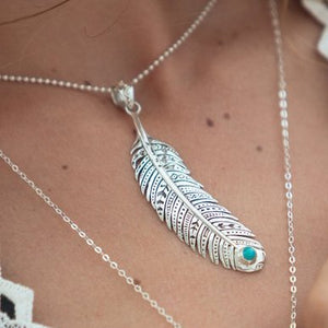 Turquoise Necklace, Feather Pendant