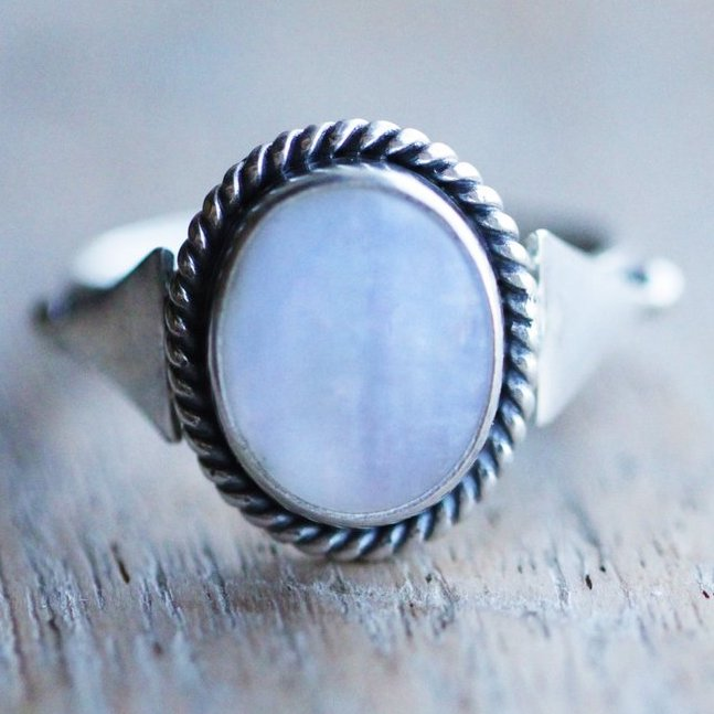Boho Ring, Simple Moonstone
