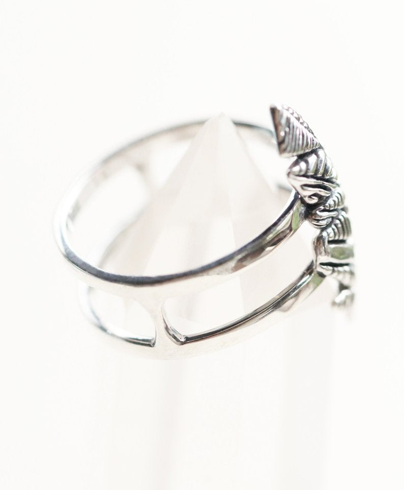 Boho Feather 925 Sterling Silver Ring