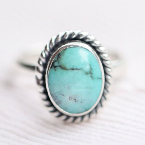Genuine Turquoise Oval Boho Simple Ring