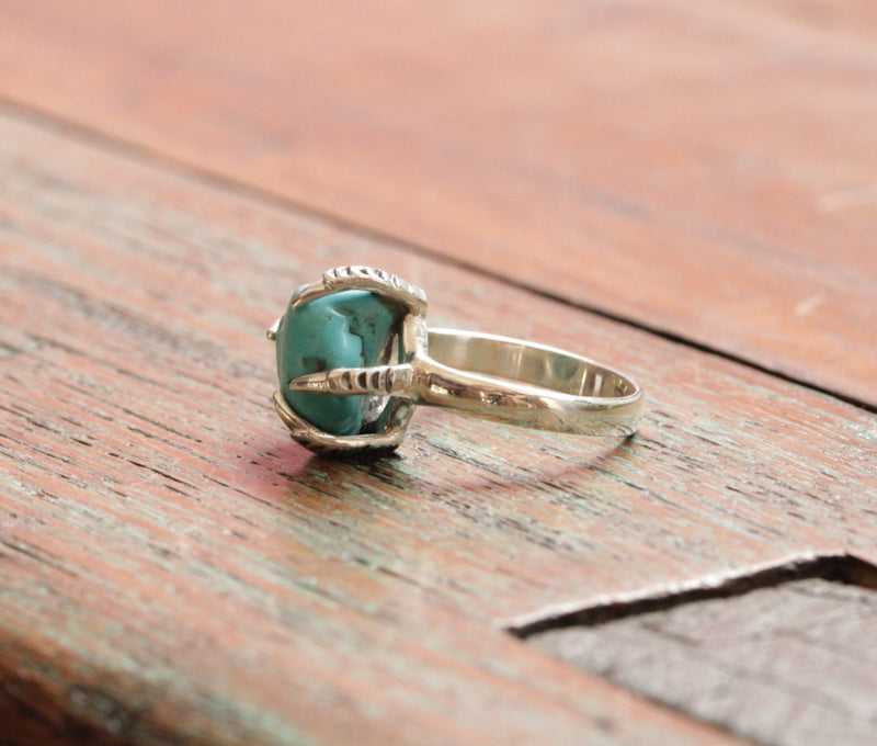 Cluster Turquoise Raw Ring with Tallon Bird Detailing in solid 925 Sterling Silver Handmade