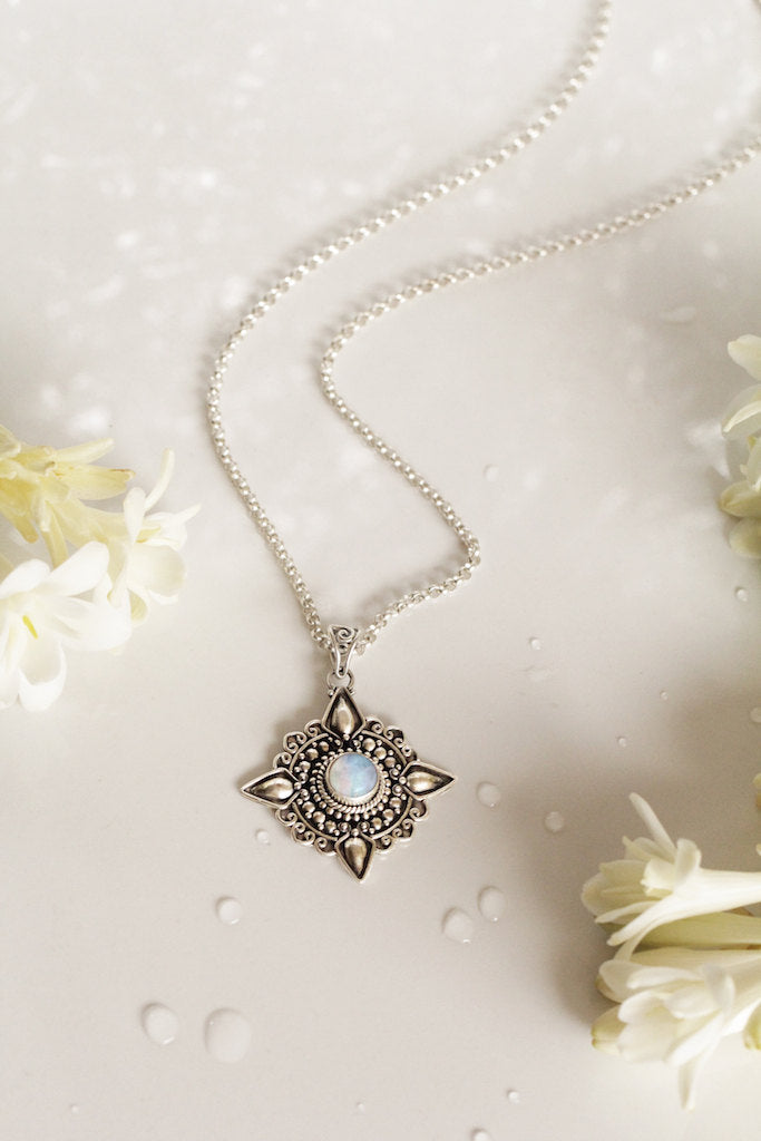 Moonstone Necklace, Mandala Necklace, OOAK, 925 Sterling Silver, Silver Jewelry, Star Necklace, Celestial Jewelry, Personalised Necklace