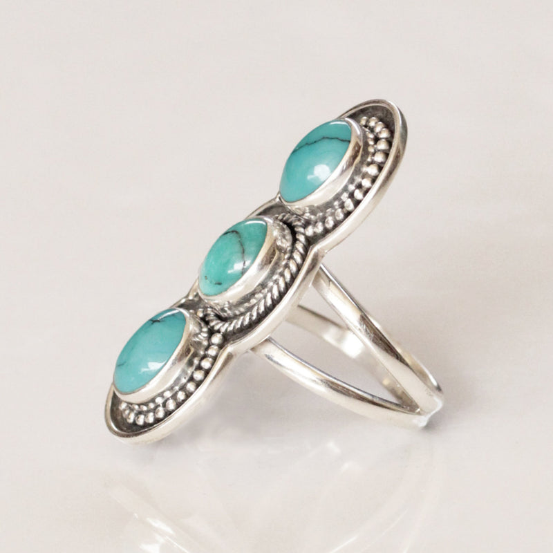 Boho Ring, Bohemian Ring, Turquoise Ring, Statement Ring, Sterling Silver, Silver Rings, Gift for her, Handmade Ring, Turquoise Jewelry