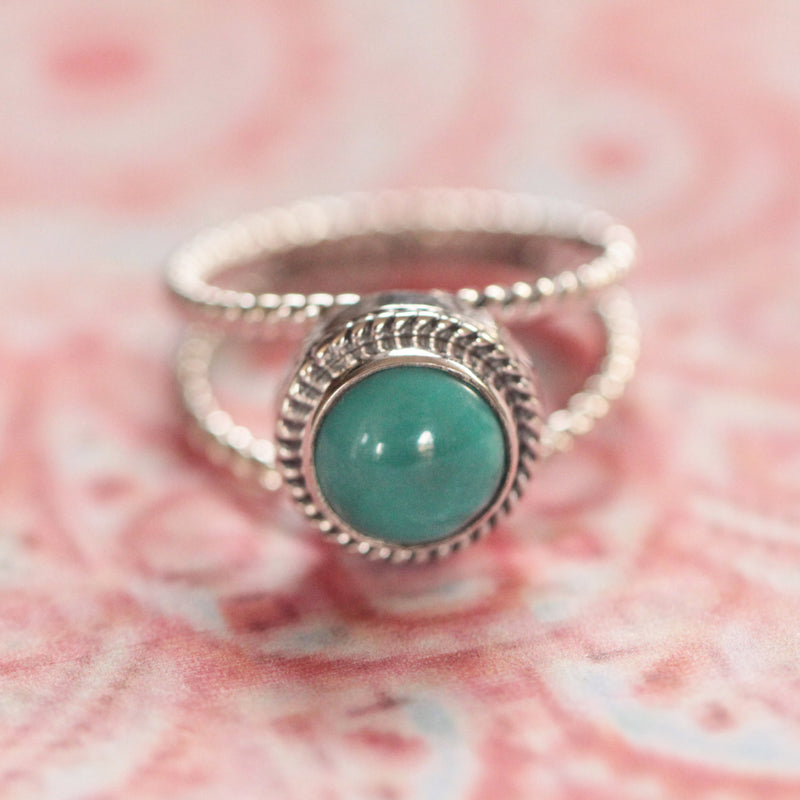 Boho Rings, Turquoise, Twist band, Simple, 925 Stamped, Silver, Handmade, Blue Gemstone, Natural, Dainty, Round, Personalized, Engraving