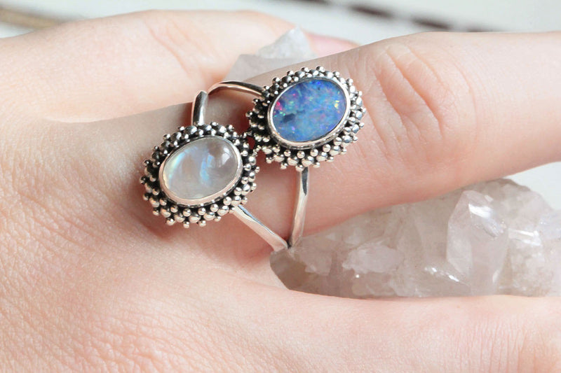 Boho Oval Opal Ring, Stunning 925 Sterling Silver, Moonstone, Genuine Gemstone, Stamped, Knuckle, Large, Split Band, Jewelry, Handmade, OOAK