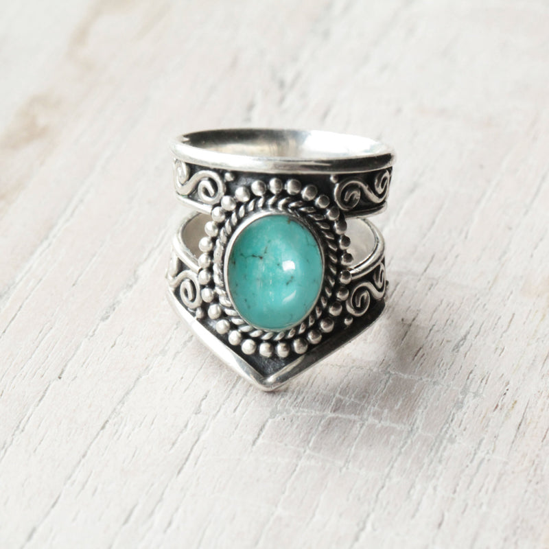 Boho Turquoise ring in 925 Sterling Silver, Gypsy Beach Trendy Rings Statement Jewellery Unique Handmade Nickel Free Sky Blue Gemstone Ring