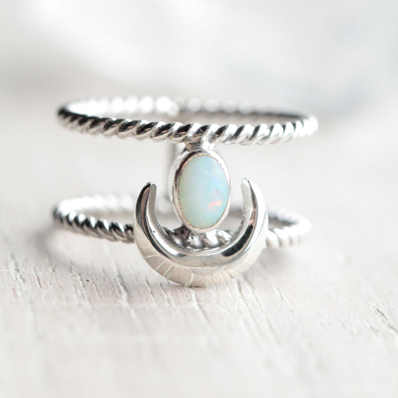 White Opal Ring, Crescent Moon, Boho, Gypsy, 925 Sterling, Stamped Silver, Double Band, Nickel Free, Celestial, Fashion, Style, Holiday