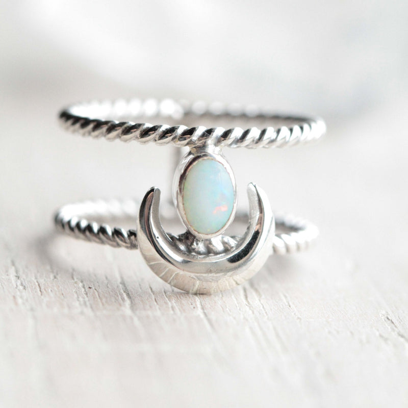 White Opal Ring, Crescent Moon, Moon Ring, Sterling Ring, Double Band Ring, Boho Rings, Genuine Opal Ring, Rings, Celestial Ring, Opal Ring