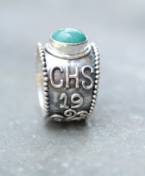 Custom Class Ring, Turquoise Ring, 925 Sterling Silver Ring, Design Your Own Ring, Initials Ring, Gift For Her, Personalised Jewelry, Rings