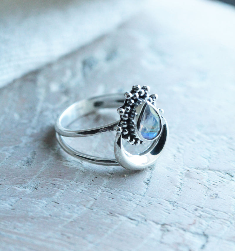 Moonstone Ring, Boho Rings, Moon Ring, Crescent Moon, Teardrop Ring, Handmade Ring, Stylish Ring, Silver Rings, Initials Ring, Rainbow Ring