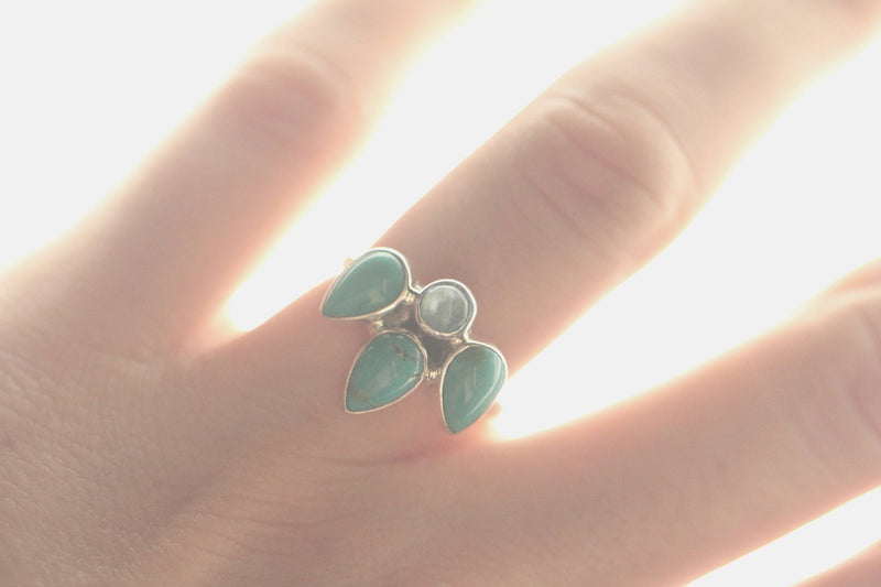 Turquoise Ring, Moonstone, Boho 925 Sterling, Silver, Crown Style, Fashion, Teardrop, Handmade, Dainty, Small, Simple, Stacking, Bohemian